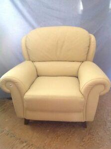 Modern Leather Chair - Soft Buttercream Colour