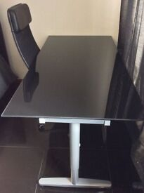 Black Tempered Glass Desk with height adjustable legs