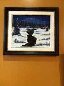 Toile peinture Acrylique Ruisseau enneigé