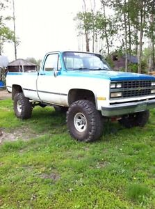 1986 Chevrolet lifted truck with 383 stroker engine.
