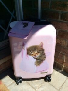 Luggage hard sided pink with kitten Rachaelhale brand. Brand New