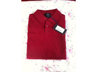 HAWES & CURTIS RED BURGUNDY POLO JUMPER SIZE M New with Tags