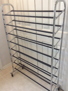 Wheeled 8 Tiered shoe rack  holds  45-50 pairs
