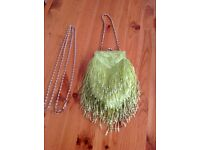 Green beaded clutch bag/purse with short and long handle