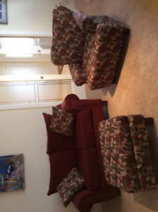 Like new loveseat, large comfy chair and ottoman