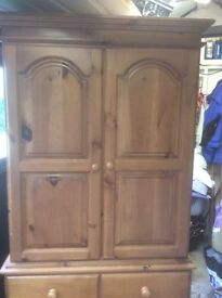 Solid Pine (Dresser style) Wardrobe with Chest of Drawers