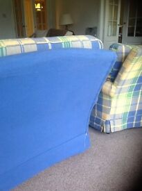 Comfy blue, yellow & green checked armchair for sale