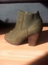 Faux suede stack heel khaki ankle boot