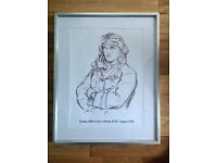 Unique Mounted Print of a Drawing of Guy Gibson pre The Dambusters. Only One Of Its Kind Anywhere