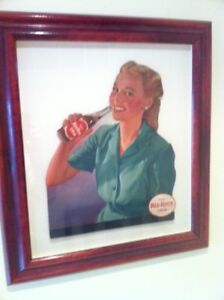 Antique 1950s Original Red Rock Cola Sign shadow box framed