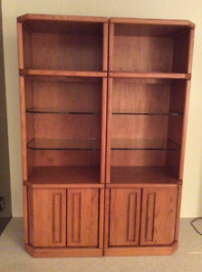 Two Oak Display Cabinets