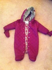 Purple Snow Suit Marks and Spencer 6-9 months girl