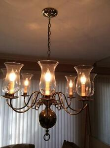Brass Chandelier With Glass Bulb Covers