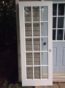 "1 Set of French Doors 30"" x 79 1/2"" each door, clear glass, wood"