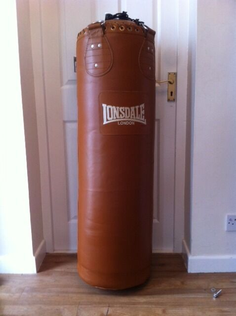 barely used authentic lonsdale brown leather vintage punch
