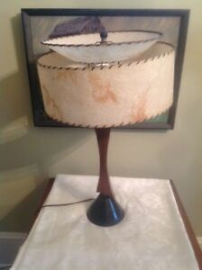 "1950's Retro 28"" Table Lamp 2 Tier Fiberglass Shade"