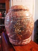 Urn Pink Marble with Gold Rose