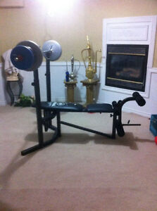 Standard bench and standard barbell w/240lbs, 350$ or best offer