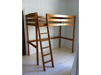 High single bed frame, made from pine