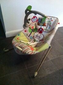 Fisher Price 'The Happy Forest' vibrating bouncy chair - reduced for quick sale