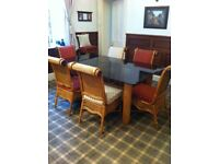 Dining Table, 6 Chairs, 2 Seater Sofa & Bar Set