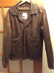 Waste Length Size 46, XL Tall, Brown Leather Jacket