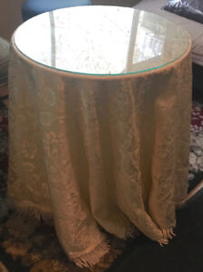 Bedside round skirted table