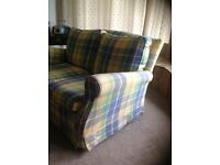 Pretty blue, yellow & green sofa for sale
