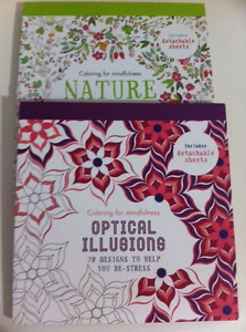 2 Adult Colouring Books- Optical Illustions & Nature