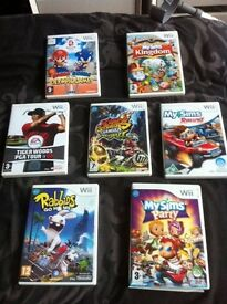 7 Nintendo Wii games excellent condition