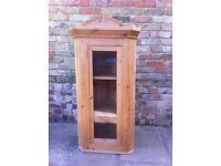 Antique pine corner wall cupboard