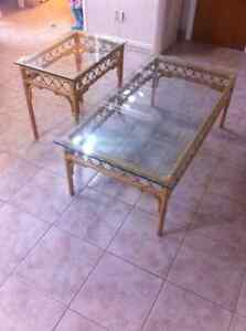 BEAUTIFUL BAMBOO GLASS TOP TABLES