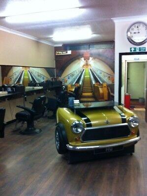 Super Cool Salon Barbers Shop Hair Reception Desk Cash Table Mini Cooper Style