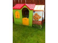 Childrens little tikes playhouse with side greenhouse