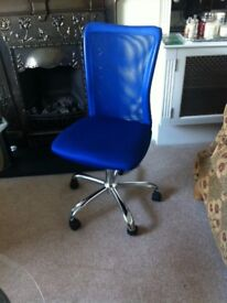 Blue adjustable office chair on wheels - pick up from Ealing