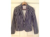 Beautiful Ladies Next Blazer - Blue and White stripes - Size 8 - Collect from Guildford