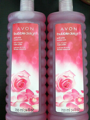 LOT OF 2 AVON SOFT PINK Bubble Bath 24 FL.OZ NEW PACKAGING on Rummage