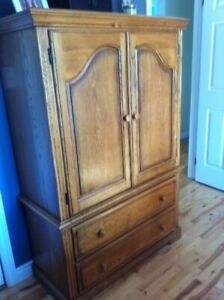 Large Solid Wardrobe Armoire - Like New Condition