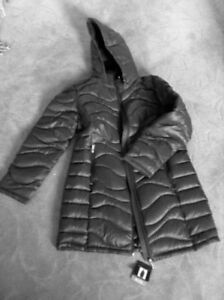 Long Puffer coat with hood - premium down, Olive, new with tags