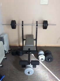 Weights bench with weights