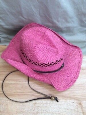 Outback Trading Eureka 1575 Pink Straw Cowboy Hat Western Chin Strap - Pink Straw Cowboy Hat