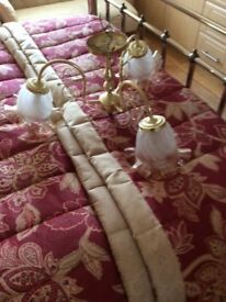Three armed brass chandelier