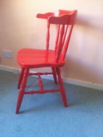 Wooden Chair - Painted Red