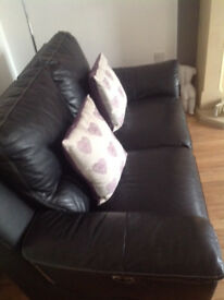 3 + 2 Black leather electric recliners only 4 years old