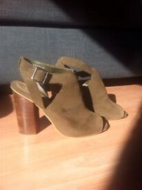 Khaki suede stack heel ankle boot