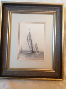 Black & White W R MacAskill Racing for the Buoy Photograph
