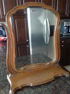 Tilt Mirror in Solid Wood Frame and Stand