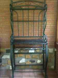 Iron Bakers Rack with Marble Shelf and Wine Holder