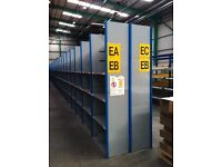 30 bays of dexion impex industrial shelving 2.3m high ( storage , pallet racking )