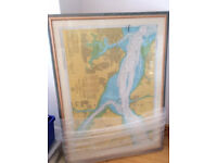 QE2 Memorabilia-Wooden Framed Ships Navigation Chart-Southampton Stamped & Dated
